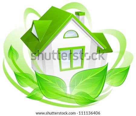 Ecology protection, model of house with green circle, environment concept, vector illustration