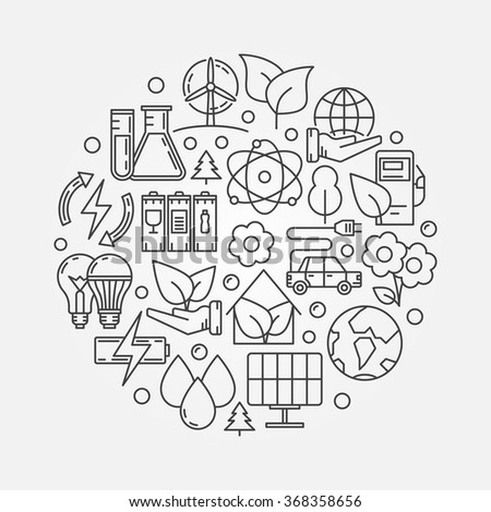 Ecology round illustration - vector eco or environment symbol made with thin line ecology signs - stock vector