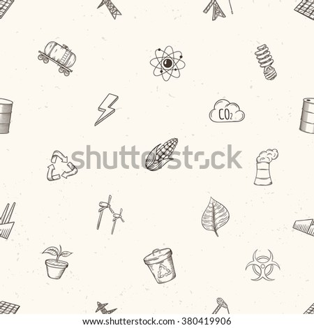 Ecology seamless pattern. Hand drawn vector illustration.