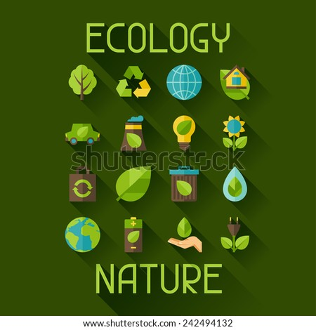 Ecology set of environment, green energy and pollution icons. - stock vector
