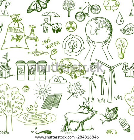Ecology signs and icons seamless pattern. Excellent vector illustration, EPS 10 - stock vector
