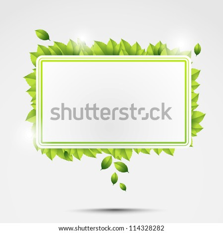 Ecology square with green leaves going around it. - stock vector