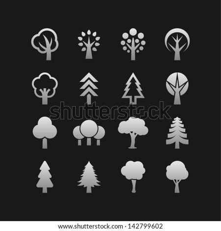 Ecology symbols. Tree icons. - stock vector