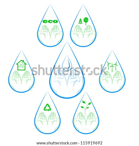 Ecology symbols with human hands in a water drop. The concept - recycling. Vector. eps 8 - stock vector