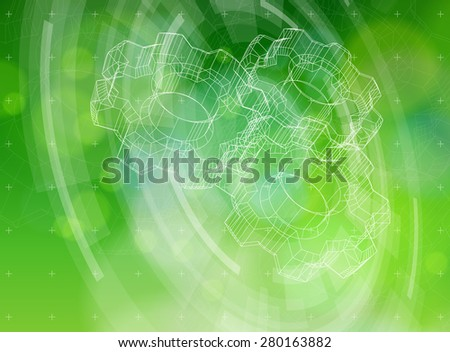 Ecology technology concept - gears, radial HUD elements & green bokeh abstract light background / vector illustration / eps10 - stock vector
