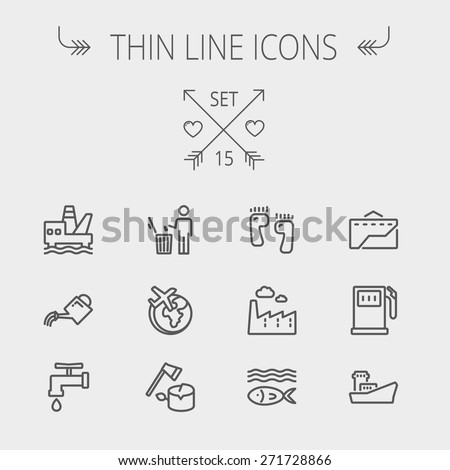 Ecology thin line icon set for web and mobile. Set includes-gasoline pump, fish, ship, garbage bin,watering can, faucet, global icons. Modern minimalistic flat design. Vector dark grey icon on light - stock vector