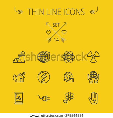 Ecology thin line icon set for web and mobile. Set includes- Palm, global, flower, propeller, atom, plug, arrow icons. Modern minimalistic flat design. Vector dark grey icon on light grey background. - stock vector