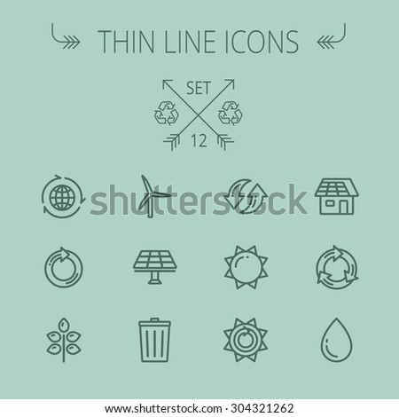 Ecology thin line icon set for web and mobile. Set includes- recycle, sun, water drop, garbage bin, windmill, leaves, global, solar panel icons. Modern minimalistic flat design. Vector dark grey icon - stock vector