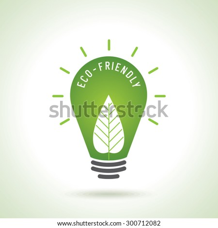 Ecology Think green bulb vector illustration. isolated from background. - stock vector
