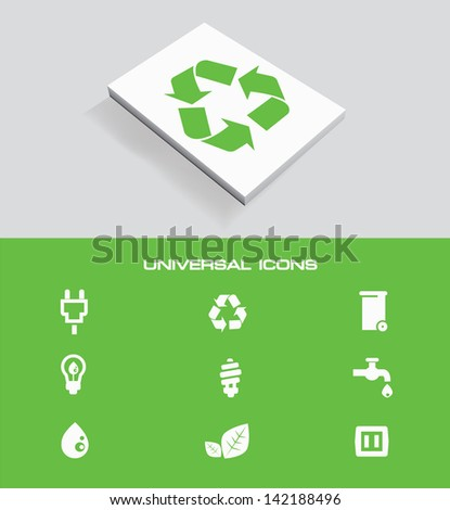 Ecology universal icon set,vector - stock vector