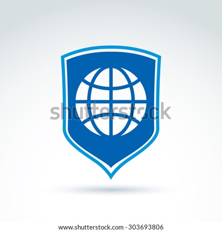 Ecology vector icon, earth safety idea. Safe the planet theme sign, blue planet symbol placed on a shield. - stock vector
