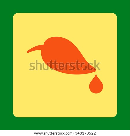 Ecology vector icon. Style is flat rounded square button, orange and yellow colors, green background. - stock vector