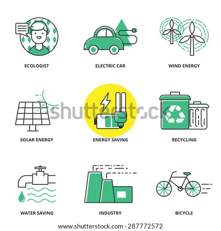 Ecology vector icons set: ecologist, electric car, wind energy, solar energy, energy saving, recycling, water saving, industry, bicycle. Modern line style - stock vector