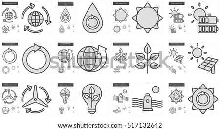 Ecology vector line icon set isolated on white background. Ecology line icon set for infographic, website or app. Scalable icon designed on a grid system.