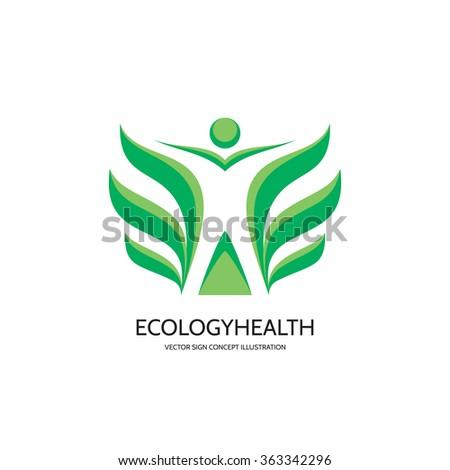 Ecology vector logo concept illustration. Health logo. Healthcare logo. Wellness logo sign. Nature logo. Human character with green leafs logo. Vector logo template. Design element. - stock vector
