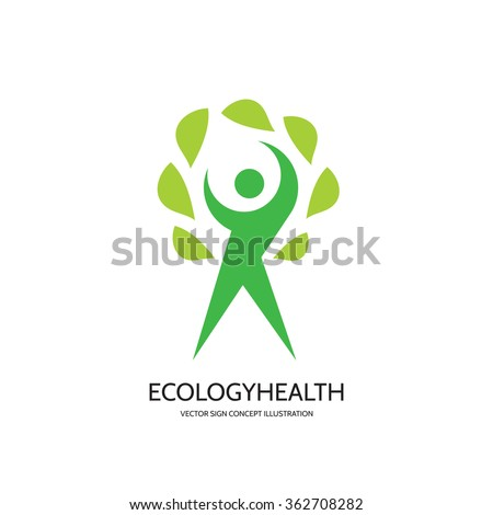 Ecology vector logo template concept illustration. Health wellness sign. Nature symbol. Human character with green leaves logo. Design element.  - stock vector