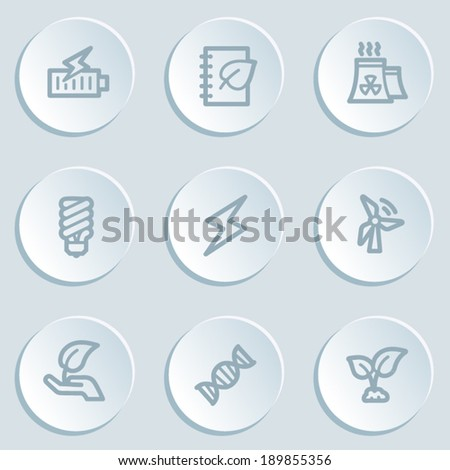 Ecology web icon set 5, white sticker buttons - stock vector