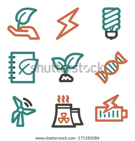 Ecology web icons, contour series - stock vector