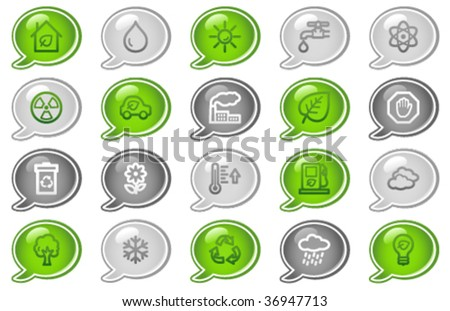 Ecology web icons, green and grey speech bubble series - stock vector