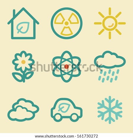 Ecology web icons, retro colors - stock vector