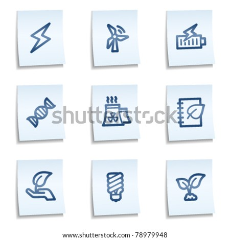 Ecology web icons set 5, blue notes - stock vector