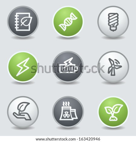 Ecology web icons set 5, circle buttons - stock vector