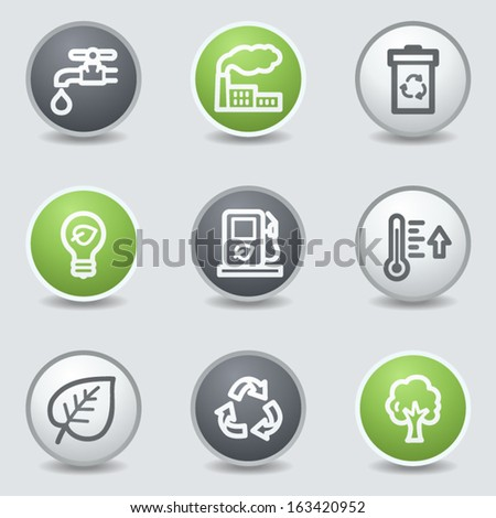 Ecology web icons set 1, circle buttons