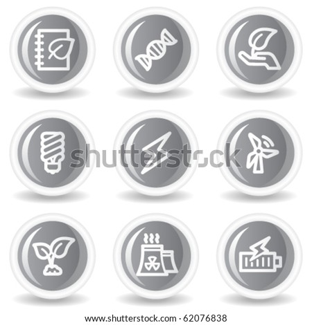 Ecology web icons set 5, circle grey glossy buttons - stock vector