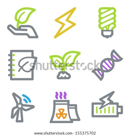 Ecology web icons set 5, color line contour series - stock vector