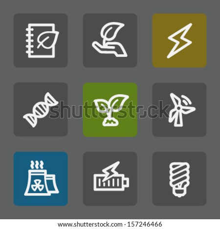 Ecology web icons set 5, flat buttons - stock vector