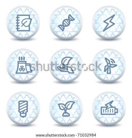 Ecology web icons set 5, glossy circle buttons - stock vector
