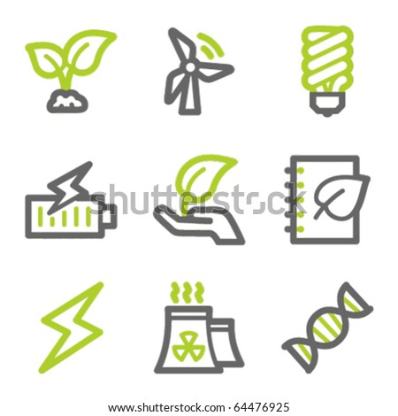 Ecology web icons set 5, green and gray contour series - stock vector