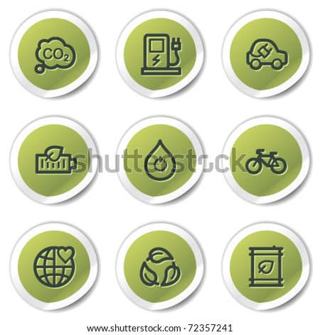 Ecology web icons set 4, green circle stickers