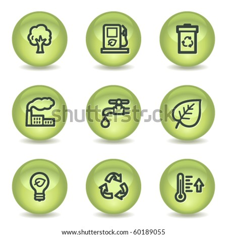 Ecology web icons set 1, green glossy circle buttons