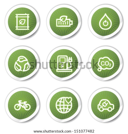 Ecology web icons set 4, green  stickers