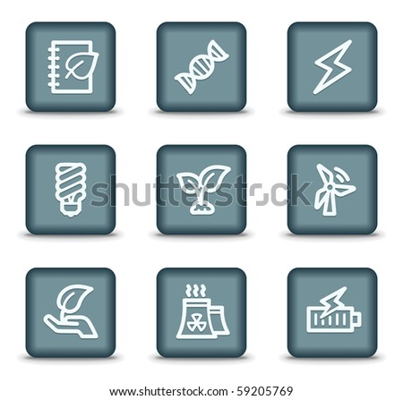 Ecology web icons set 5, grey square buttons - stock vector