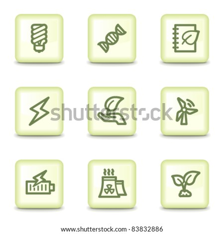 Ecology web icons set 5, salad green buttons - stock vector