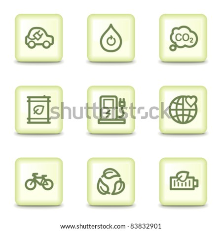Ecology web icons set 4, salad green buttons