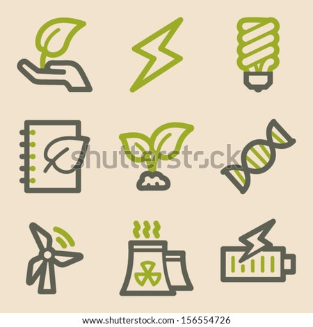 Ecology web icons set 5, vintage series - stock vector