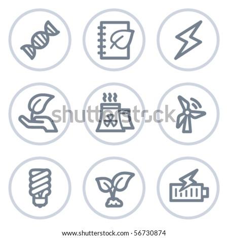Ecology web icons set 5, white circle series - stock vector