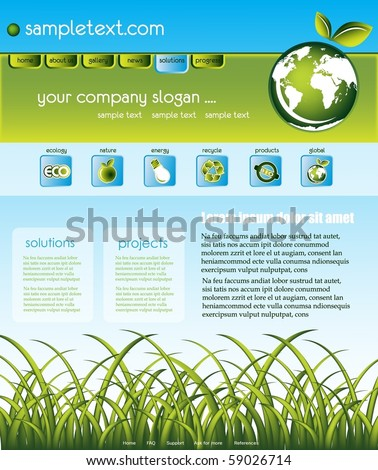 Ecology website template - stock vector