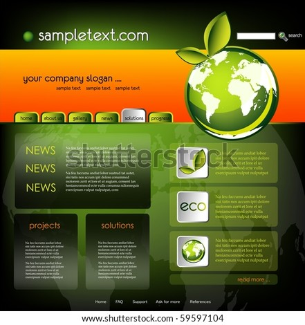 Ecology website template, vector - stock vector