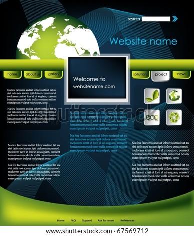 Ecology website template, vector - stock vector