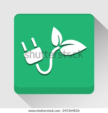 Ecology with electric plug icon great for any use. Vector EPS10. - stock vector