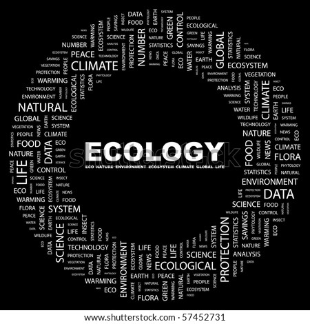 ECOLOGY. Word collage on black background. Illustration with different association terms. - stock vector