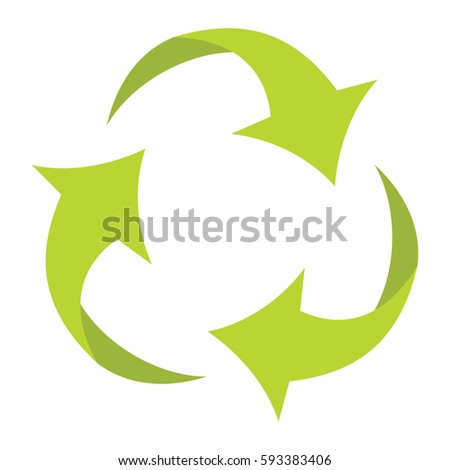 Ecologycal flat green recycle eco sign isolated on white background. Vector illustration