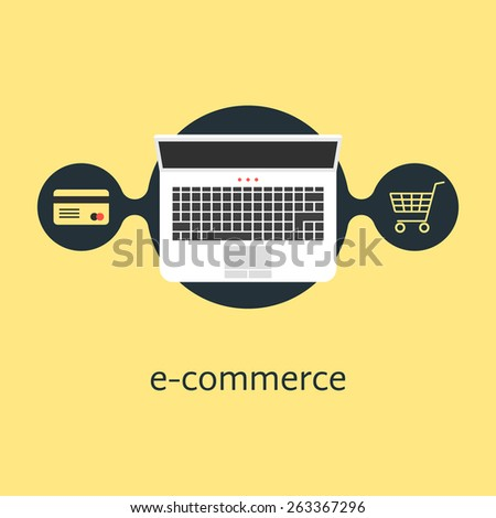 ecommerce with credit card laptop and shopping cart. concept of merchant, finance, banking, on-line supermarket. isolated on yellow background. flat style trendy modern design vector illustration - stock vector