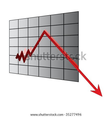 Economic crisis, business fall diagram illustration - stock vector