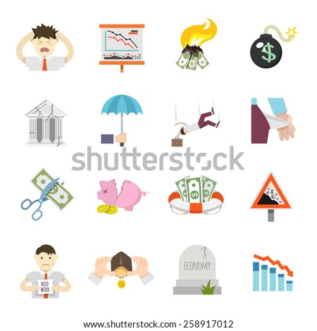 Economic crisis finance depression invest recession flat icons set isolated vector illustration - stock vector