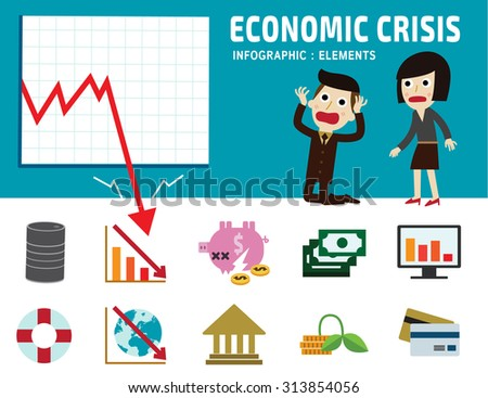 economic crisis. frustrated business man cartoon character. falling graph of a stock market set flat icons modern design isolated on white background. financial crisis graphic illustration. - stock vector